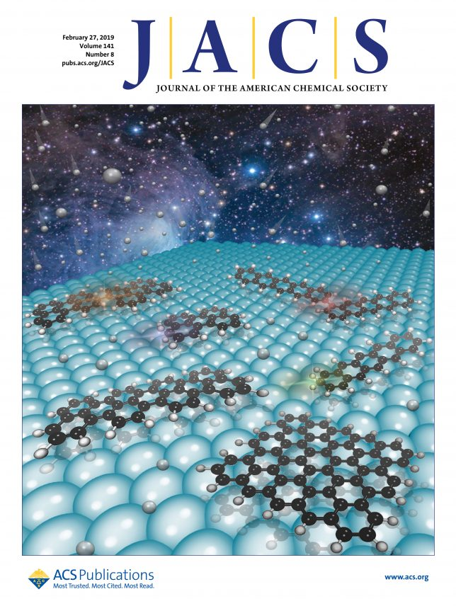 Supplementary Cover Art for the manuscript: On-Surface Hydrogen-Induced Covalent Coupling of Polycyclic (10.1021/jacs.8b12239) published in Journal of the American Chemical Society.